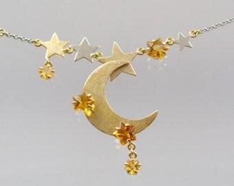 Platinschmuck 960/- Platin Kette mit Citrin Sternen und 585/- Gelbgold u. Weißgold  Unikat Goldschmiedearbeit Meisterarbeit