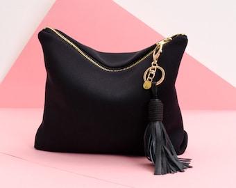 RV-Tasche CLUTCH BAG schwarz Neopren 100 % Leinen gefüttert mit abnehmbarer Leder schwarz Quaste Charme