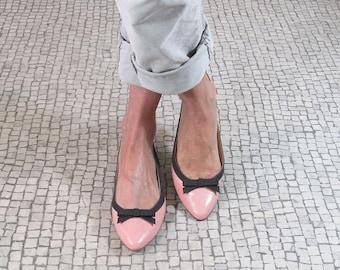 SOLDES Ballerine pointue cuir rose, ballerine bride arrière, ballerine cuir bicolore, ballerine cuir rose, Fait à la main Italie, Costa