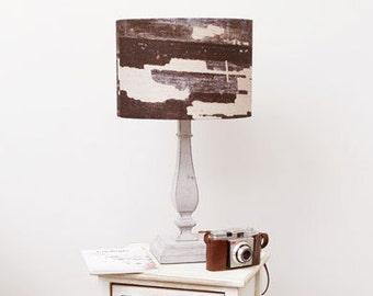 Monochrome black - cream, Linen Drum Lampshade, urban decor, loft living, organic homeware, rustic home decor, abstract, earthy interior