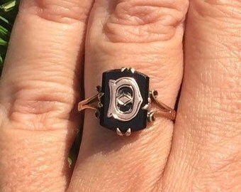 SALE | Antique Initial Ring | D | D Initial Ring | Rose Gold Ring | Victorian Ring | Gifts For Her