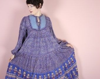 INDIAN cotton dress in blue - loose bohemian fit - BALLOON sleeves - festival boho India ethnic hippie vintage 70s s-m