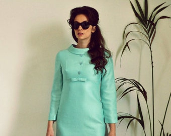 SALE! Amazing Vintage Original 1960's Mint Green Mod Scooter Micro Mini Evening Dress