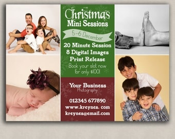 Christmas Mini Session Template, holiday photoshop online marketing, photo templates for photographers, photoshop set, photography boards