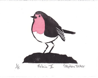 Signed, Limited Edition Print of a Robin