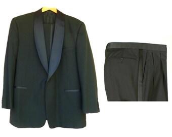 Vintage Men's Black Tuxedo Suit with Shawl Collar