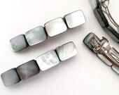 Tahitian Gray Shell REG Barrettes | Silver Barrette | Silver Hair Clip | Silver Hair Accessories | Wedding Barrette |  Silver Hair Clips