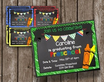 50% OFF SALE - Preschool Graduation Invitation - Instant Download - Editable - Chalkboard - Announcement - Printable PDF