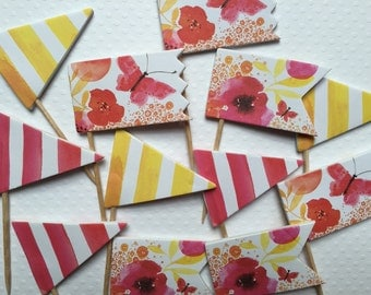 Watercolor Cupcake Toppers/ Party Picks (Set of 12)