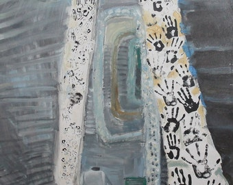 Abstract surrealim oil collage painting