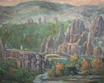 Mountain rocks vintage oil painting