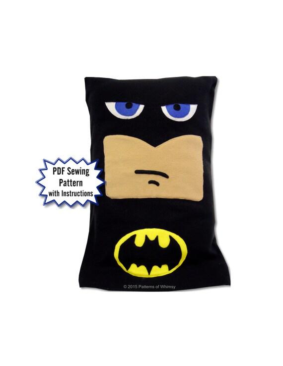 Batman Cushion Knitting Pattern : Batman Fleece Pillow Case PDF Pattern, DC Comics from PatternsOfWhimsy on Ets...