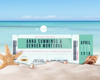 DESTINATION WEDDING! Boarding Pass Wedding Invitations Perfect For That Beach Wedding Or Any Destination Location // AREAL Collection