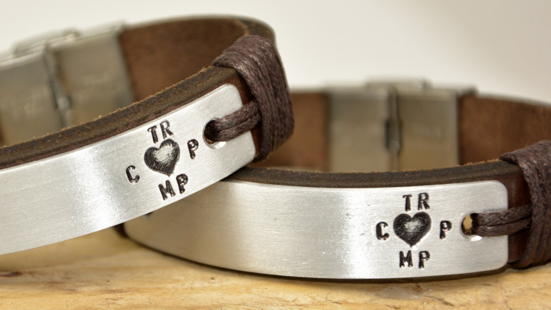 couple bracelets personalized leather bracelets by pukkamen