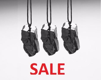 Elite shungite Pendant Sale! 3 Elite Shungite pendants (EMF protection and healing), root chakra healing and cleaning, crystal S024