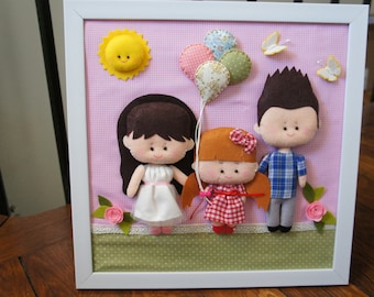 Table family with child and balloons in felt 100% handmade