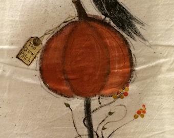 Pumpkin and Crow dish Towel, seasonal dish towel , Fall dish towel, crow tea towel, pumpkin tea towel.
