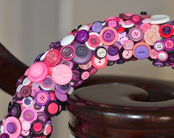 Pink and Purple Button Wreath, Home Decor, Decorative Wreath, Alternative Wreath, For Girls Bedroom, Wreath for a Princess