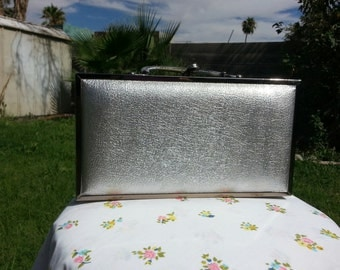 Gorgeous Silver Lame Box Purse Designed By Lou Taylor Miami c 1960