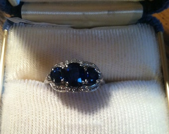 Antique Natural Unenhanced Art Deco 18k Sapphire and Diamond Ring