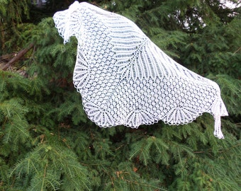 Knitted white lace shawl Shawl Lambs wool Shawl for bride Wedding Bridal shawl Knitted shawl wraps Ivory knit wrap White lace Gift for women