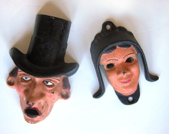 """Pair of Wilton Co. Cast Iron Hand Painted Items: 1) Amish girl door knocker & 2) Prohibitionist character """"Mr. Dry"""" bottle opener"""