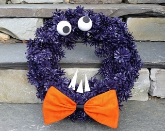 Monster Halloween Pine Cone Halloween Wreath