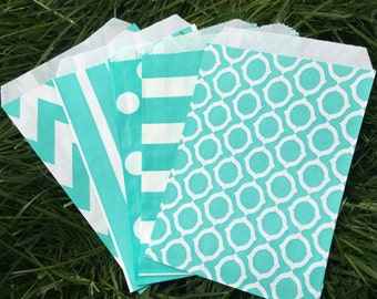 Aqua Favor Bags - Set of 10