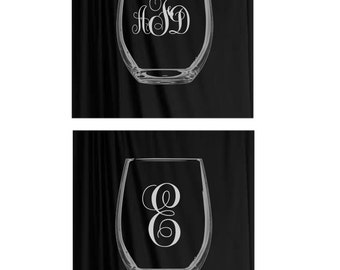 Monogrammed Wine Glass, etched, Custom