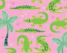 QUILTING COTTON FABRIC See You Later by Maude Asbury Everglades in Pink. Sold by the 1/2 yard