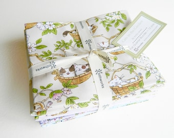 Cats In The Garden Fat Quarter Set By Clothworks
