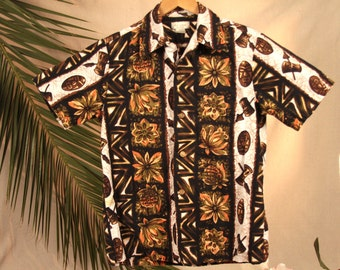 Made in Hawaii Men's Hawaiian Shirt in Brown Black Orange and White.  Size: Medium