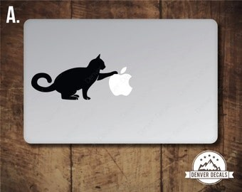Kitten Playing With the Apple Macbook Sticker Cat Mac Decal
