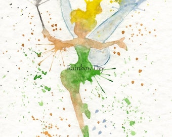 Tinkerbell - Watercolour - work dated and signed - delivery available in France!