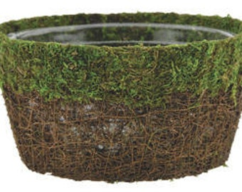"12"" Round Moss and Vine Dish for Fairy Gardens with Liner Woodland Weddings Garden Decor"