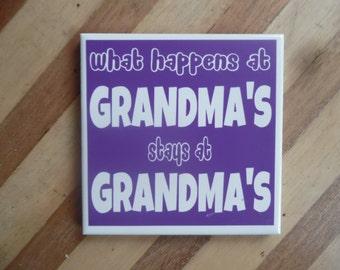 4 Grandma Coasters - Purple