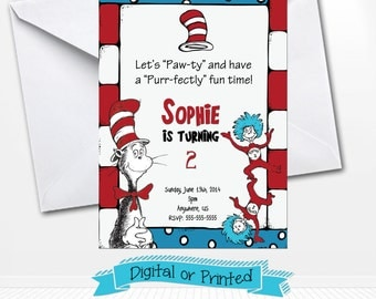 Dr. Seuss Birthday Invitations Printed with Envelopes or Digital Copy 24 Hr Turnaround! Cat in the Hat Birthday Invitations
