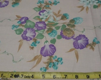 "MORNING GLORY FABRIC,2.5 yds x 48"", pale pink background, shabby chic,Vintage fabric"