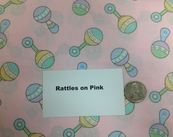 Pink Baby Rattles Fabric - 2 Yards