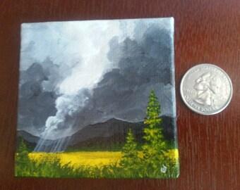 Rain on the Plain miniature canvas painting