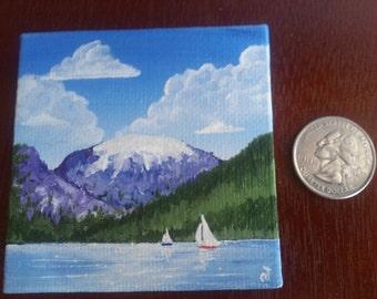 MIniature Canvas Painting - Sailing Near Baldy