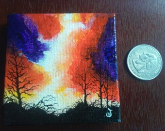 Sky on Fire miniature canvas painting