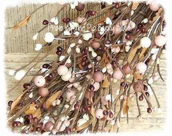 Mauve & Cream Mixed Berry Garland, Pip Berry Garland, Primitive Berry Garland, Country Decor