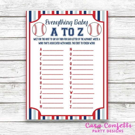 Baseball Baby Shower Game Everything Baby A To Z Card Striped
