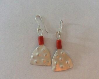 Sterling silver long earrings. Designer silver earrings. Modern contemporary earrings.