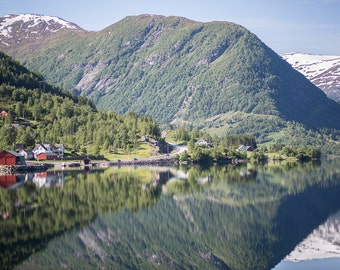 Norway Art Print, Large Wall Art, Calm Reflection, Skei Photography, Landscape Photograph, Europe Art Print