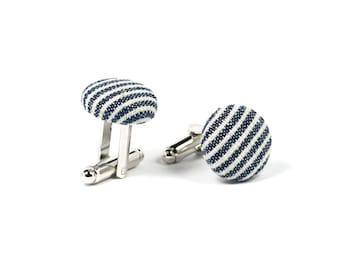 Fabric covered cufflinks, Denim stripe silver cuff links