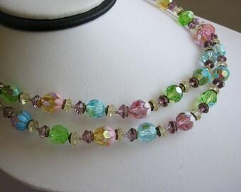 Vintage Double Strand Fruit Salad Pastel Rhinestone Necklace
