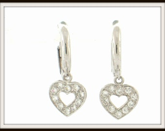 14K solid white gold DANGLING heart with cz HOOP EARRINGS