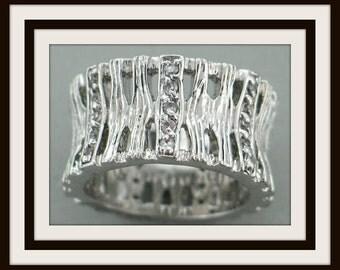 Brand new modern design 925 sterling silver white topaz ETERNITY RING size 9